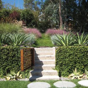 Réalisation d'un xéropaysage minimaliste l'automne et de taille moyenne avec une exposition ensoleillée, une pente, une colline ou un talus et des pavés en béton.