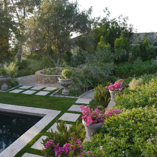 Photo of a mediterranean backyard garden in San Diego with a container garden.