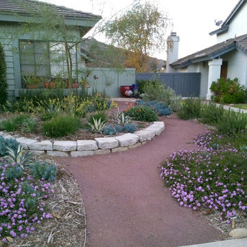 Sustainable front yard, recycled materials