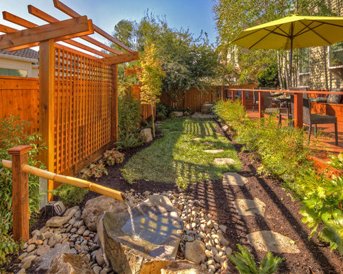 This Is An Example Of A Traditional Landscaping In Portland With A Fire Pit  And Decking