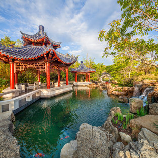 Inspiration for an asian water fountain landscape in Tampa.