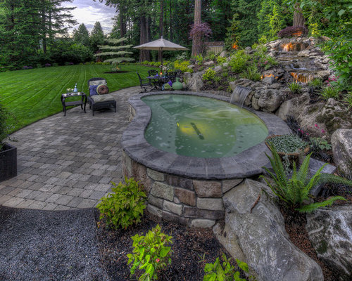 Hot tub waterfall houzz - Karen muir swimming pool kimberley ...