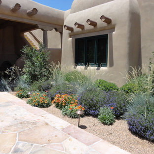 Inspiration for a southwestern drought-tolerant and full sun front yard gravel garden path in Albuquerque for summer.