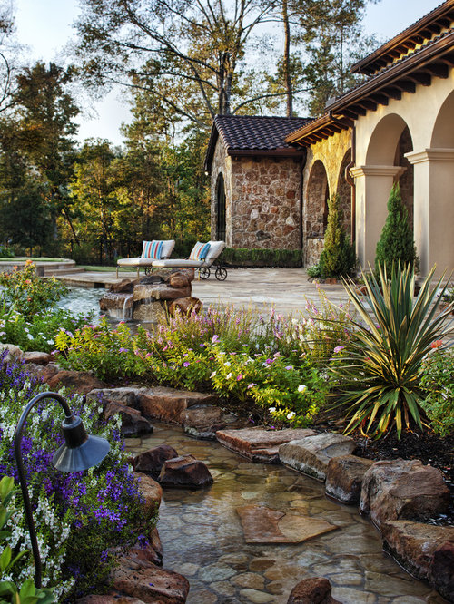 Rock water feature home design ideas renovations photos for Mediterranean garden design