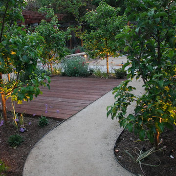 The decomposed-granite access path winds between apple trees to provide direct,