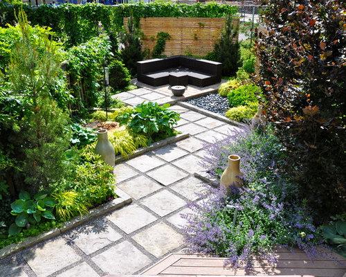 Rectangular backyard design houzz for Rectangular garden design