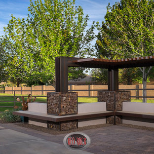 Design ideas for a large industrial drought-tolerant and partial sun front yard brick landscaping in Phoenix.
