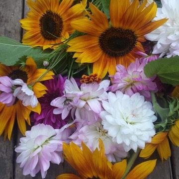 The wild flowers cutting garden bouquet