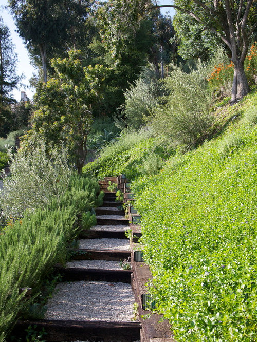 Railroad tie steps houzz for Landscaping rocks los angeles