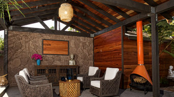 Timber Framed Cabana with Stone Accent Wall