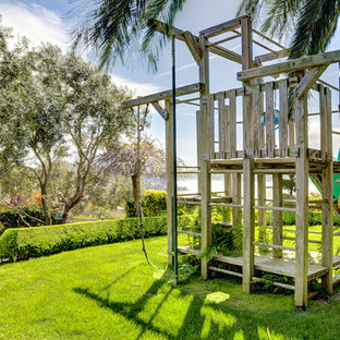 This is an example of a huge traditional outdoor playset in San Francisco.