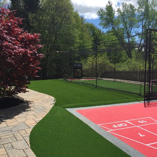 This is an example of a large traditional backyard outdoor sport court in Boston.