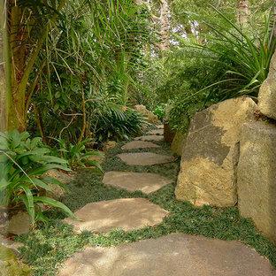 Mittelgroßer, Halbschattiger Asiatischer Hanggarten mit Gartenweg und Natursteinplatten in Auckland