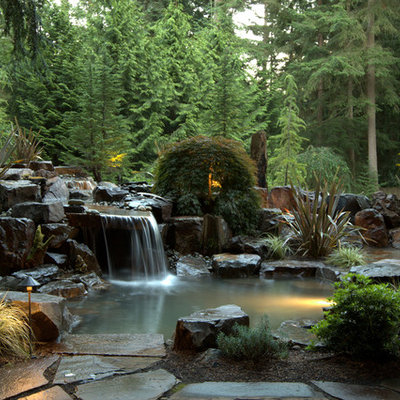 Photo of a traditional water fountain landscape in Seattle.