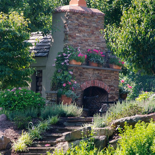 This is an example of a traditional landscaping in Philadelphia with a fireplace.