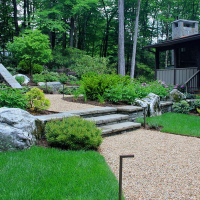 Design ideas for a traditional hillside gravel lawn edging in Charlotte.