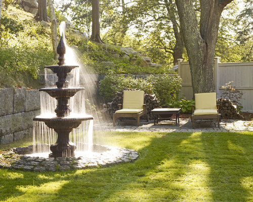 Outdoor garden water fountains houzz Water fountain landscaping ideas