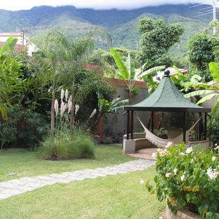 Esempio di un giardino tropicale dietro casa