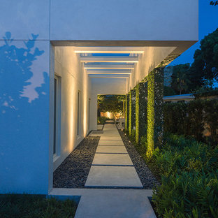 Photo of a small contemporary full sun side yard concrete paver landscaping in Miami.