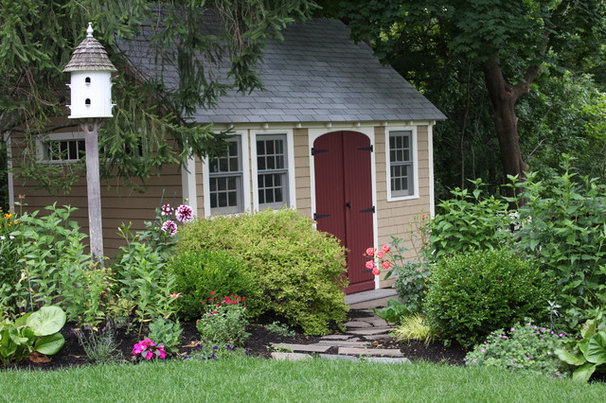 Traditional Garage And Shed by Amy Martin Landscape Design