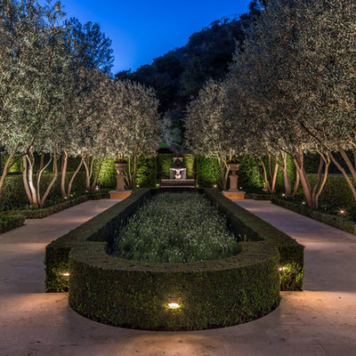 This is an example of a large mediterranean backyard formal garden in Los Angeles.
