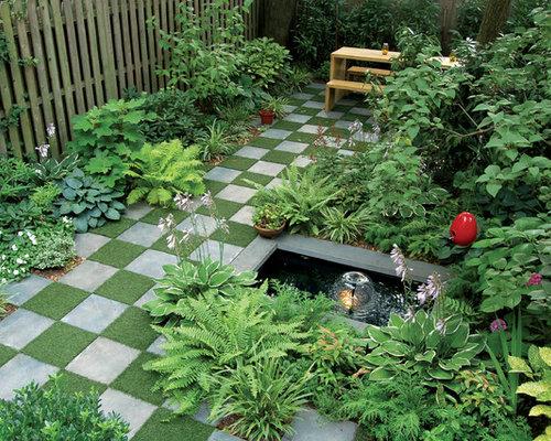 Checkerboard patio houzz for Checkerboard garden designs