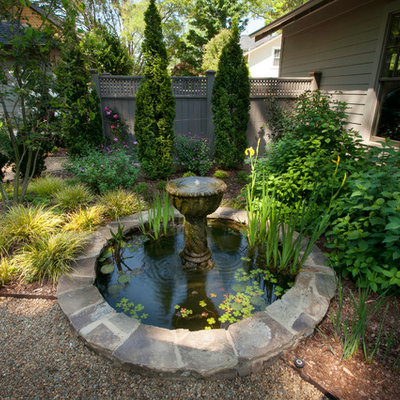 This is an example of a traditional water fountain landscape in Charlotte.