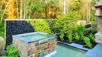 Urban Lodge: water feature and living wall