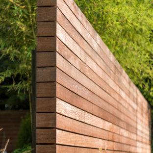 Cette photo montre un jardin avant tendance de taille moyenne avec une entrée ou une allée de jardin et une exposition ensoleillée.