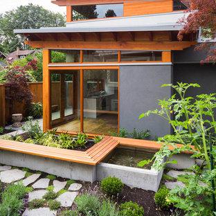 Foto di un piccolo giardino contemporaneo con fontane e pavimentazioni in cemento