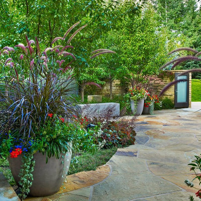 This is an example of a traditional stone garden path in Denver.