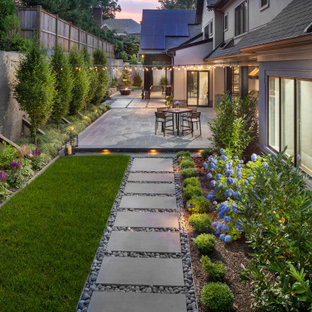 Design ideas for a contemporary partial sun backyard stone landscaping in DC Metro for summer.