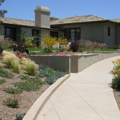 Photo of a contemporary retaining wall landscape in San Diego.
