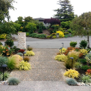 Design ideas for a mid-sized asian full sun front yard concrete paver walkway in Seattle.