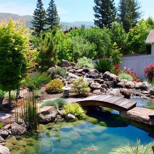 Inspiration for a world-inspired garden in San Francisco with a water feature.