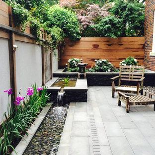 Immagine di un piccolo giardino etnico in ombra dietro casa con fontane e pavimentazioni in pietra naturale