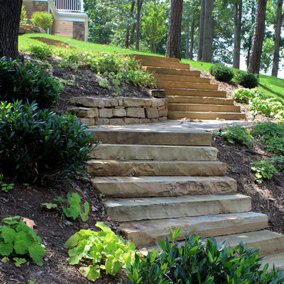 This is an example of a traditional hillside landscaping in DC Metro.