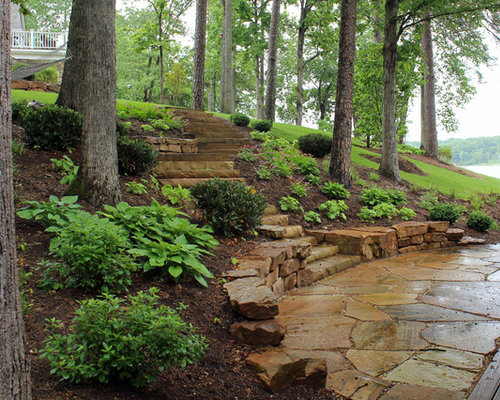 Design Ideas For A Mid Sized Beach Style Partial Sun Hillside Stone Retaining  Wall Landscape