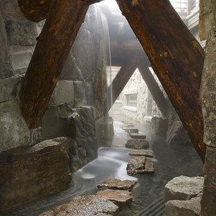 Diseño de jardín rústico con fuente