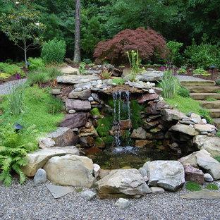 Exempel på en klassisk trädgård, med en fontän