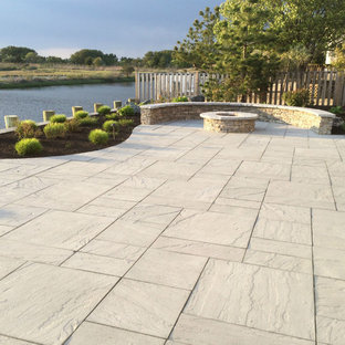 This is an example of a coastal landscaping in New York.