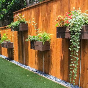 Imagen de jardín ecléctico, pequeño, en verano, en patio trasero, con jardín vertical y exposición parcial al sol