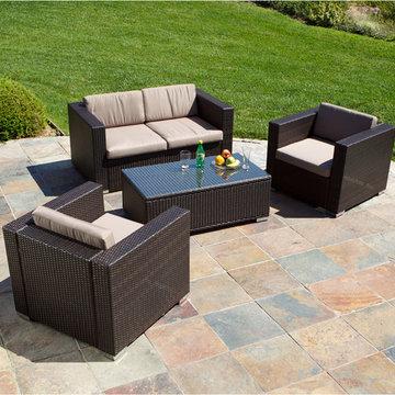 Westlake Brown Wicker 4pc Outdoor Sofa Set