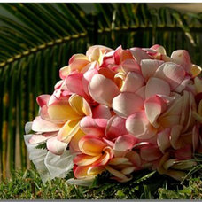 Tropical Landscape White with Pink Highlights