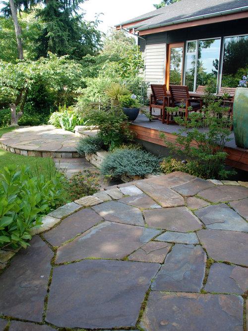 Flagstone Cement Patio Home Design Ideas Renovations Photos