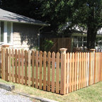 Wood Pointed Picket Fence 2 Traditional Landscape