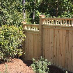 Wood Privacy Fence - Spindle Top Wood Privacy Fence
