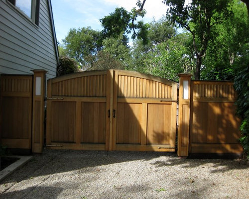 Wooden driveway gates houzz for Double wooden driveway gates