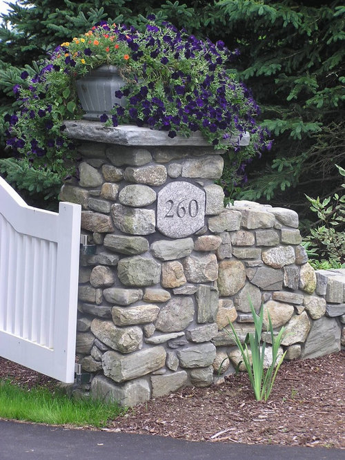 Stone Entrance Pillars : Driveway entrance houzz
