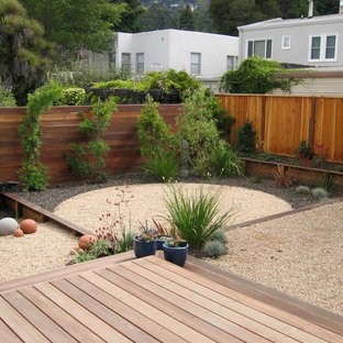 This is an example of a contemporary back garden in San Francisco.